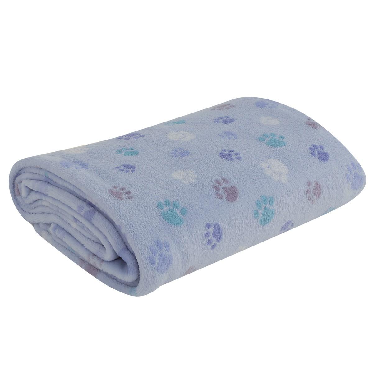 Κουβέρτα Fleece Κούνιας Nef-Nef Baby Footprint Blue