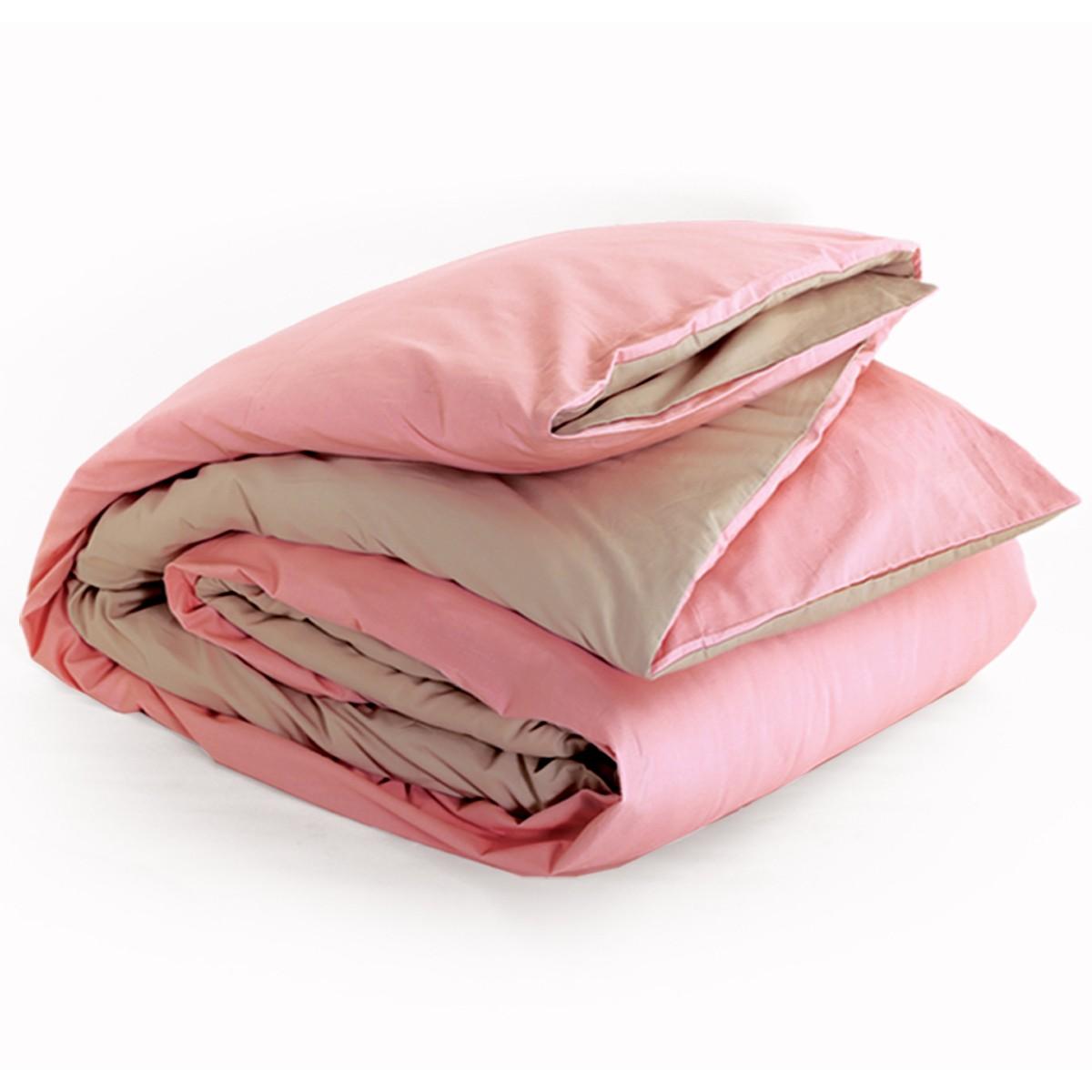 Παπλωματοθήκη Υπέρδιπλη 2 Όψεων Nef-Nef Bicolor Pink/Beige